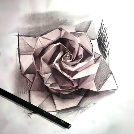 Origami Rose Tattoo Design