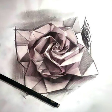 Origami Rose Tattoo