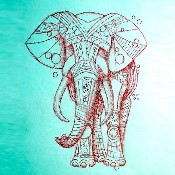 Pink Elephant Tattoo Design
