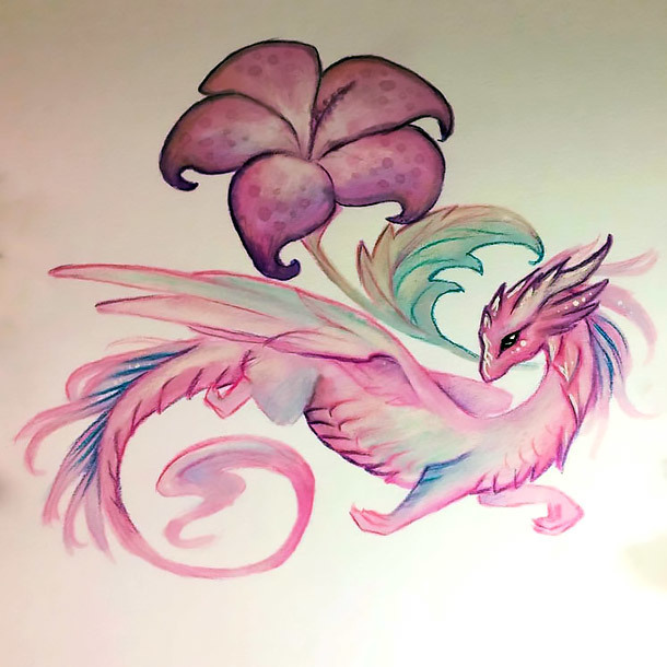 Pink Flower and Dragon Tattoo Design