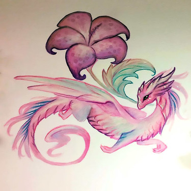 Pink Flower and Dragon Tattoo