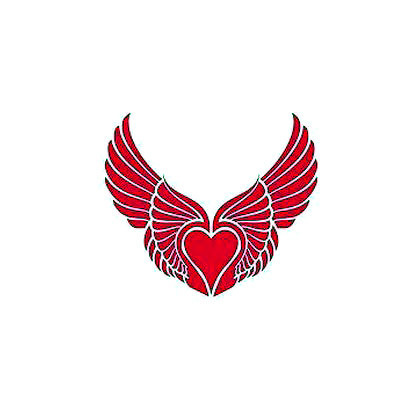Pink Winged Heart Tattoo Design