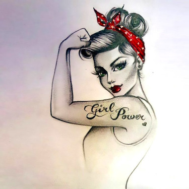Pin Up Girl Power Tattoo