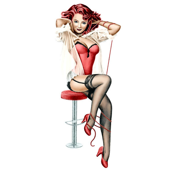 Pin Up Lady on Stool Tattoo Design