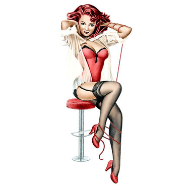 Pin Up Lady on Stool Tattoo