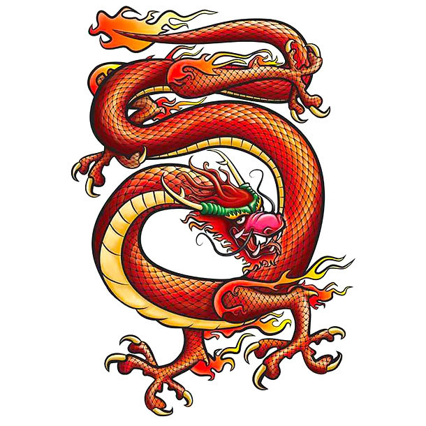 Red Chinese Dragon Tattoo Design