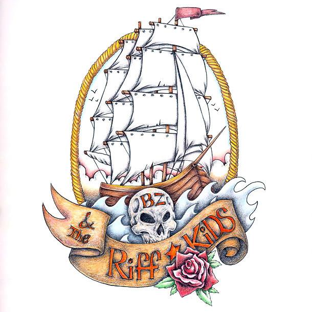 Riff Kids Ship Tattoo Design