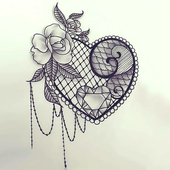 Sexy Lace Heart Tattoo Design