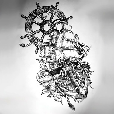 Ship Anchor Wheel Tattoo In Sketch Style Tattoo