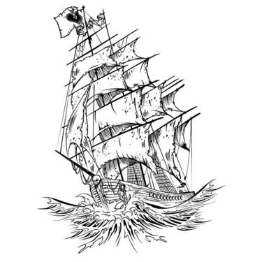 Ship on Wave Tattoo