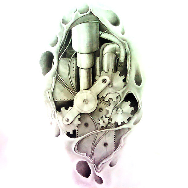 Simple Biomechanical Tattoo Design