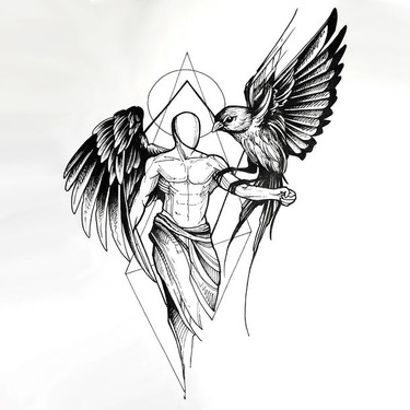 Sketch Style Angel With Bird Tattoo