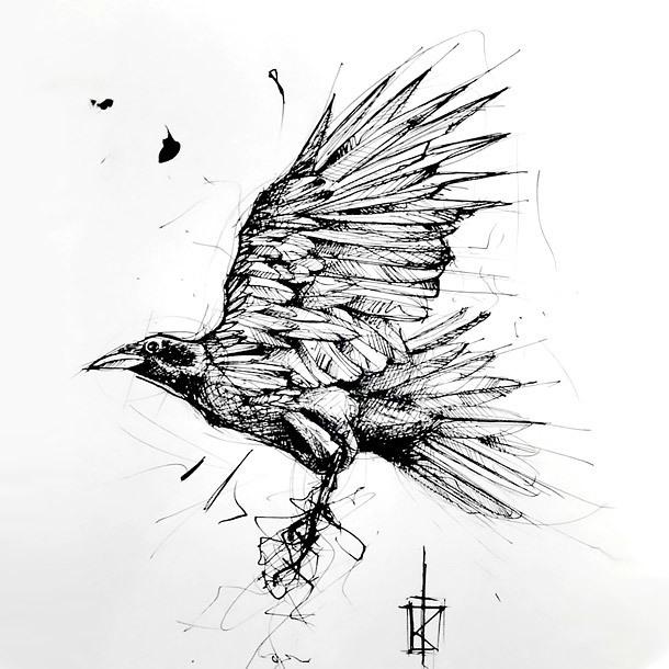 Sketch Style Crow Tattoo Design