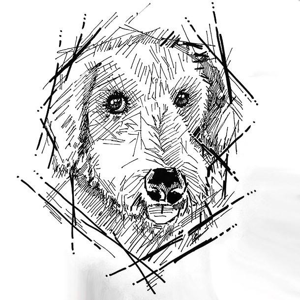 Sketch Style Dog Tattoo Design