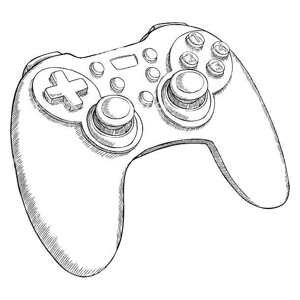 Sketch Style Gamepad Tattoo Design
