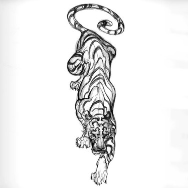 Sketch Style Tiger Tattoo