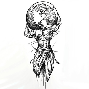 Sketchy Man Holding Earth Tattoo