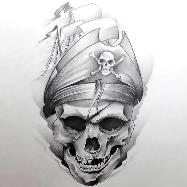 Skull In Ship Hat Tattoo Design