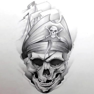 Skull In Ship Hat Tattoo