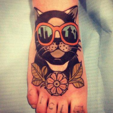 Funny Cat in Glasses Tattoo