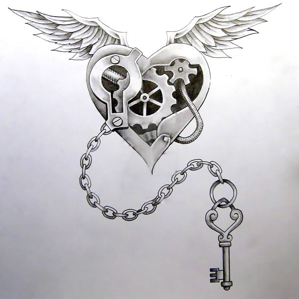 Steampunk Heart and Key Tattoo Design
