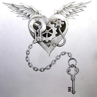Steampunk Heart and Key Tattoo