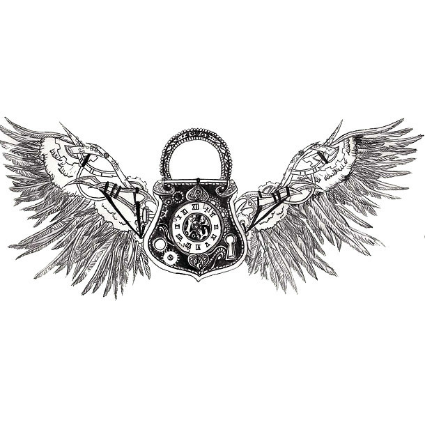 Steampunk Lock With Wings Tattoo Design