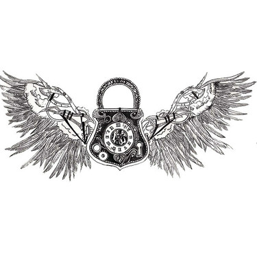 Steampunk Lock With Wings Tattoo