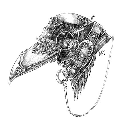 Steampunk Raven Head Tattoo Design