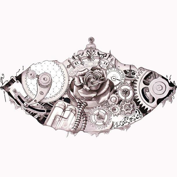 Steampunk Rose Tattoo Design