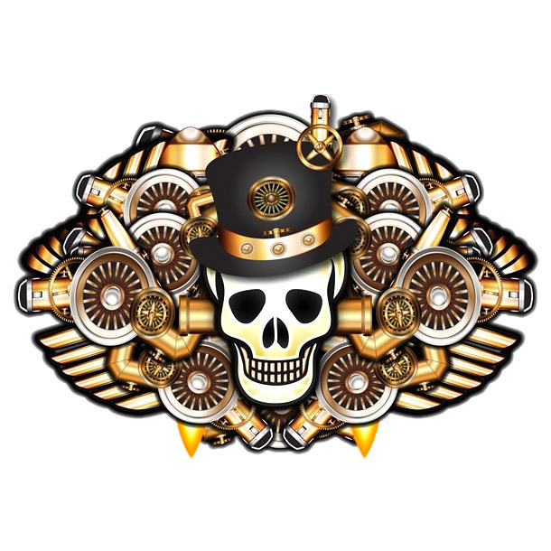 Steampunk Skull In Hat Tattoo Design