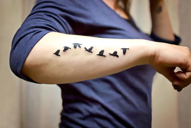 Birds on Arm Tattoo Idea