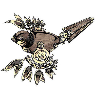Steampunk Sparrow Bird Tattoo