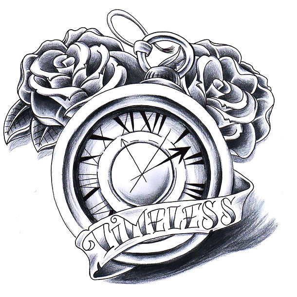 Timeless Clock With Roses Tattoo Design