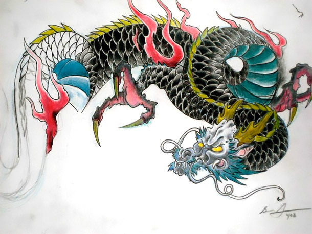 Traditional Japanese Dragon Tattoo Design