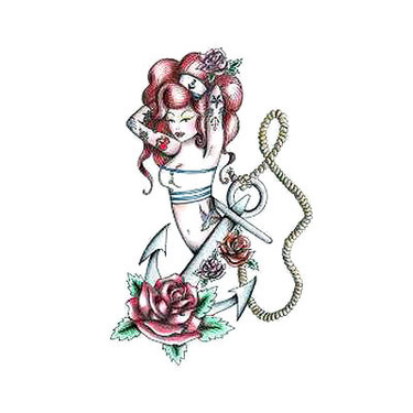 Traditional Pin Up Girl Anchor Tattoo