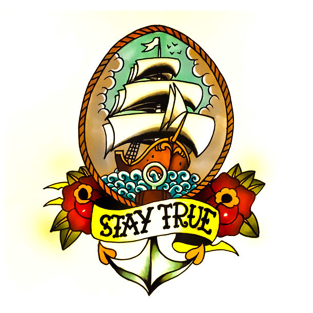 Traditional Stay True Ship Tattoo Design