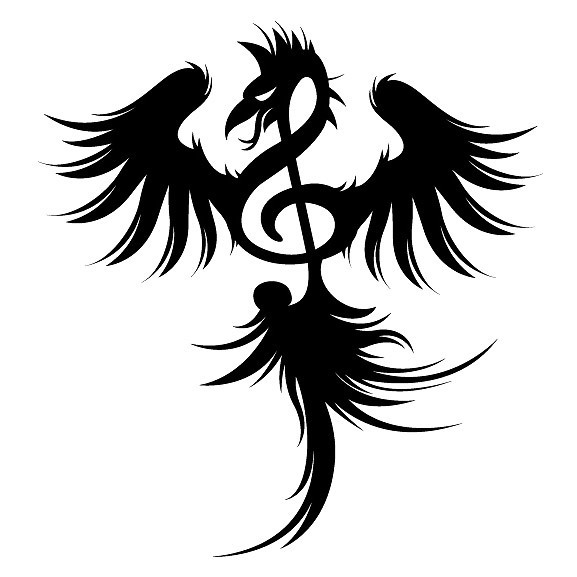 Treble Clef Bird Tattoo Design