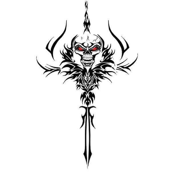 Tribal Skull Dagger Tattoo Design