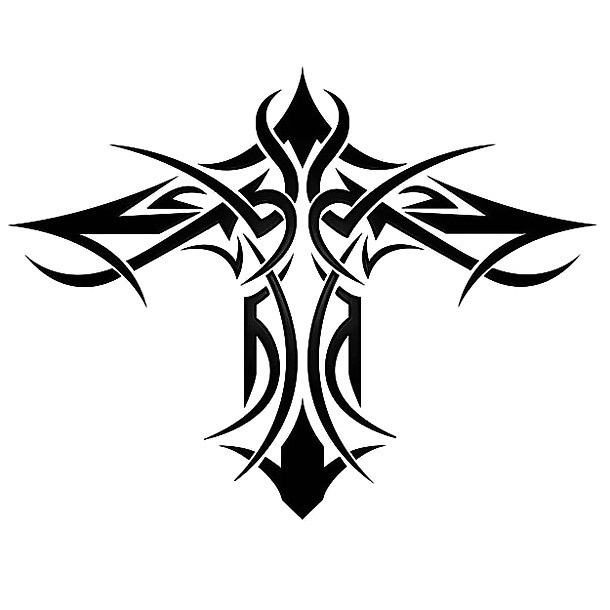 Tribal Style Cross Tattoo Design