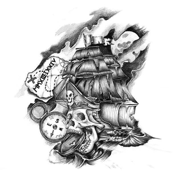 True Pirate Ship Tattoo Design