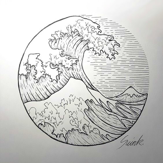 Wave In Circle Tattoo Design