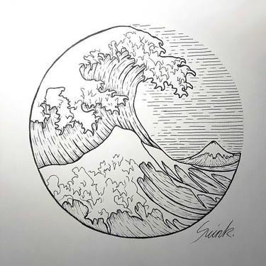 Wave In Circle Tattoo