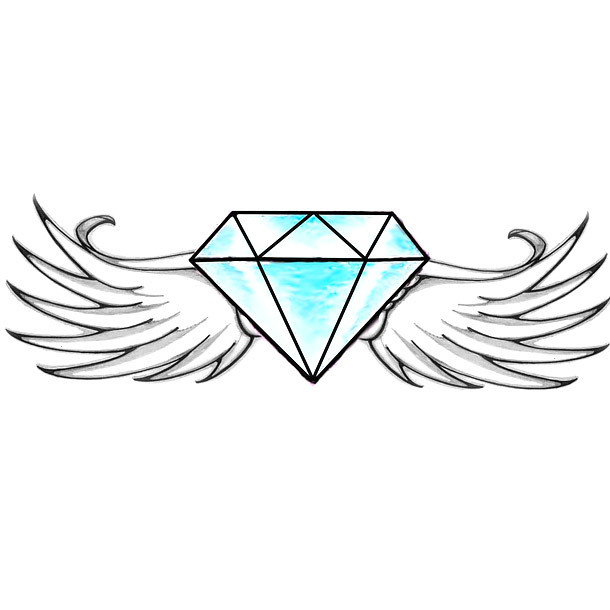 Winged Diamond Tattoo Design