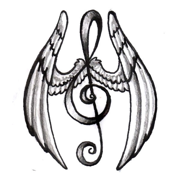 Winged Treble Clef Tattoo Design