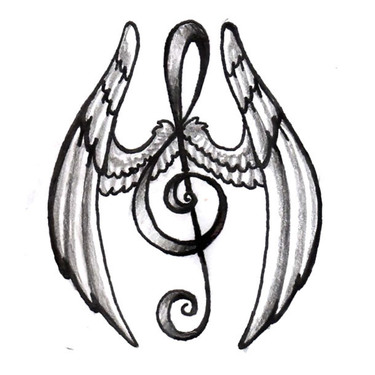 Winged Treble Clef Tattoo