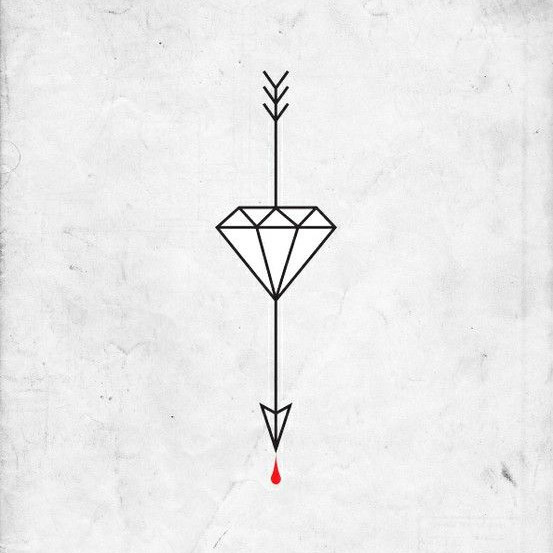 Arrow Diamond Blood Tattoo Design