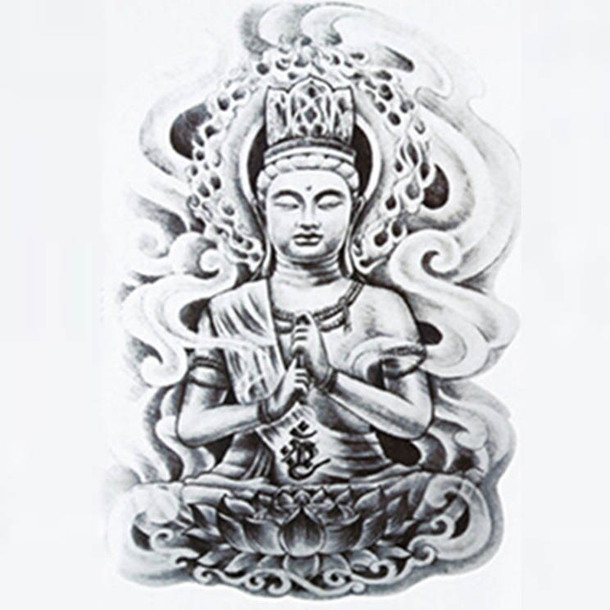 Gray Buddha Tattoo Sketch Tattoo Design