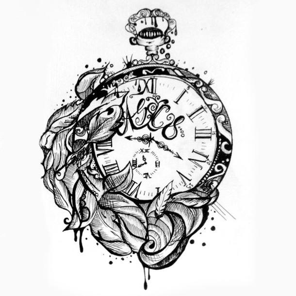 Sketch Style Clock Tattoo Design