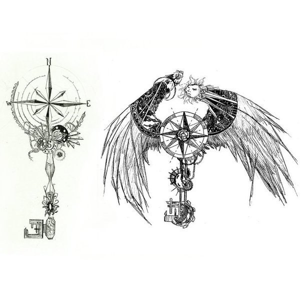 Steampunk Compass Tattoo Design